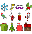Colored christmas icons vector image vector image