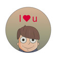 cute cartoon boy with love emotions character vector image vector image