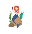 cute red hair mermaid looking in hand mirror vector image vector image