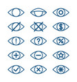 different eye icons set of eye pictograms vector image vector image