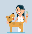 doctor vaccinates a dog vector image vector image
