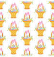 easter basket with eggs seamless pattern vector image