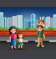 family standing on sidewalk vector image vector image