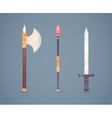 Fantasy medieval cold weapon set in flat-style des vector image vector image