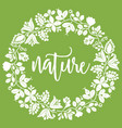 floral nature wreath on green background vector image