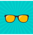 Glasses with yellow lens Sunburst background vector image vector image