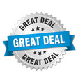 great deal 3d silver badge with blue ribbon vector image vector image