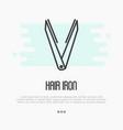 hair iron thin line icon for hair salon vector image