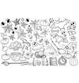 halloween hand drawn icons set vector image vector image