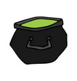 happy halloween color icon witch cauldron vector image