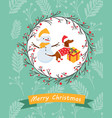 holiday postcard with funny dachshund and snowman vector image vector image