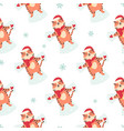 holiday seamless pattern with funny tigers making vector image vector image