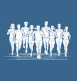 marathon runners group of people running vector image vector image