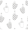 Monochrome seamless pattern with sketching cups vector image vector image