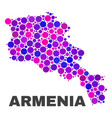 mosaic armenia map of spheric items vector image vector image