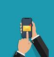 newsletter on phone screen smartphone in hand vector image vector image