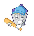 playing baseball blueberry cupcake character vector image