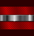 Red metal perforated background with iron plate