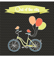 Retro poster with bicycle and balloons vector image vector image
