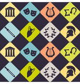 Seamless background with greece symbols vector image vector image