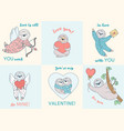 set of cards with valentine sloths cards with vector image vector image