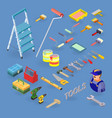 set of tools equipment and items isometri vector image vector image