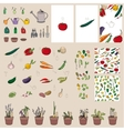 Set with vegetables garden tools and equipment vector image