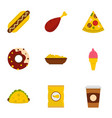 street food icon set flat style vector image vector image