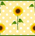 sunflower on white polka dots yellow background vector image vector image