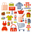 supermarket grocery shopping flat style cartoon vector image vector image