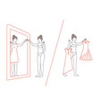 woman standing and looking in mirror flat style vector image vector image