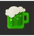 Stylized shiny glass mug with green beer and foam vector image