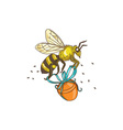 Bee Carrying Honey Pot Drawing vector image