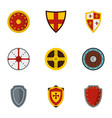 medieval armour icons set flat style vector image