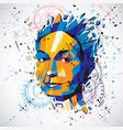 3d low poly portrait of a smart woman human vector image