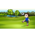 A boy playing soccer outdoor vector image vector image