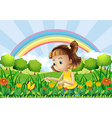 A girl at the garden with a rainbow at the back vector image