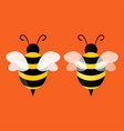 bee icon flying bee on background two bees on an vector image vector image