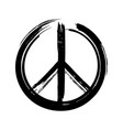black peace symbol created in grunge style vector image