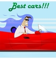 Businessman in a red car vector image