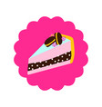 cake slice with macaroons on top cartoon vector image