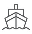 cargo ship line icon transportation and delivery vector image