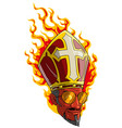 cartoon sly red devil man in burning bishop mitre vector image vector image