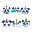 cartoon unicorn panda with different emotions vector image vector image