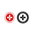 clinically tested medical cross check icon vector image vector image
