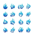 collection blue fire icons vector image vector image