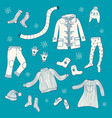 collection of hand drawn winter clothing vector image vector image