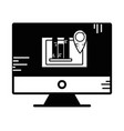 contour computer with company document and vector image vector image