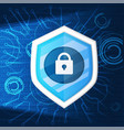 cyber security and shield key iconbackground vector image