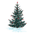festive fir tree with red balls isolated on white vector image vector image